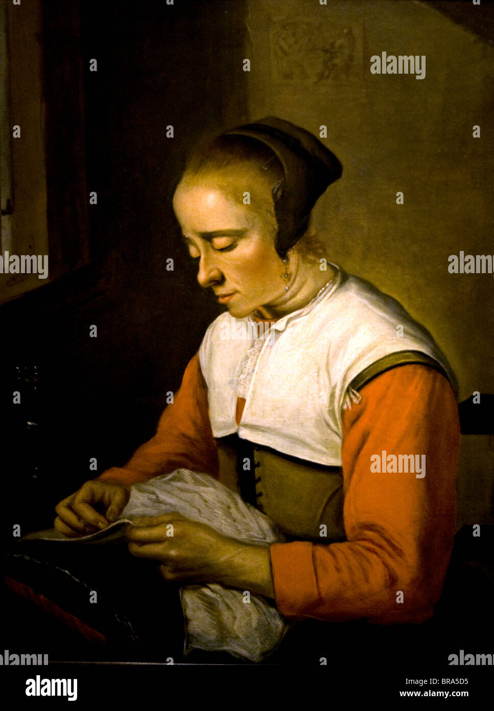 Netherlands Reinier Frans Hals 1582-1666 Painting Woman sewing 1650 - Stock Image