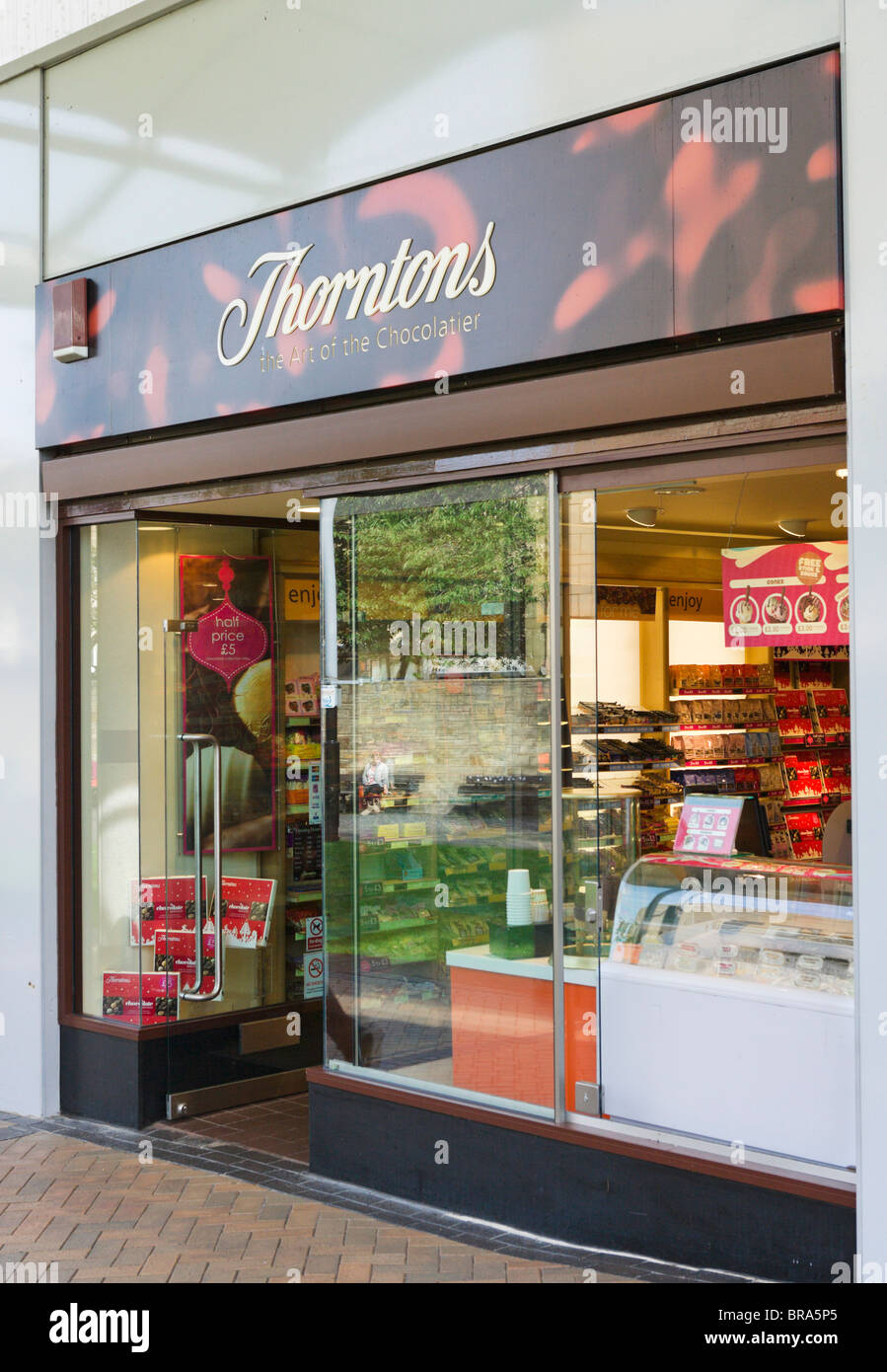 Thorntons chocolate shop in Huddersfield town centre, West Yorkshire, England, UK - Stock Image
