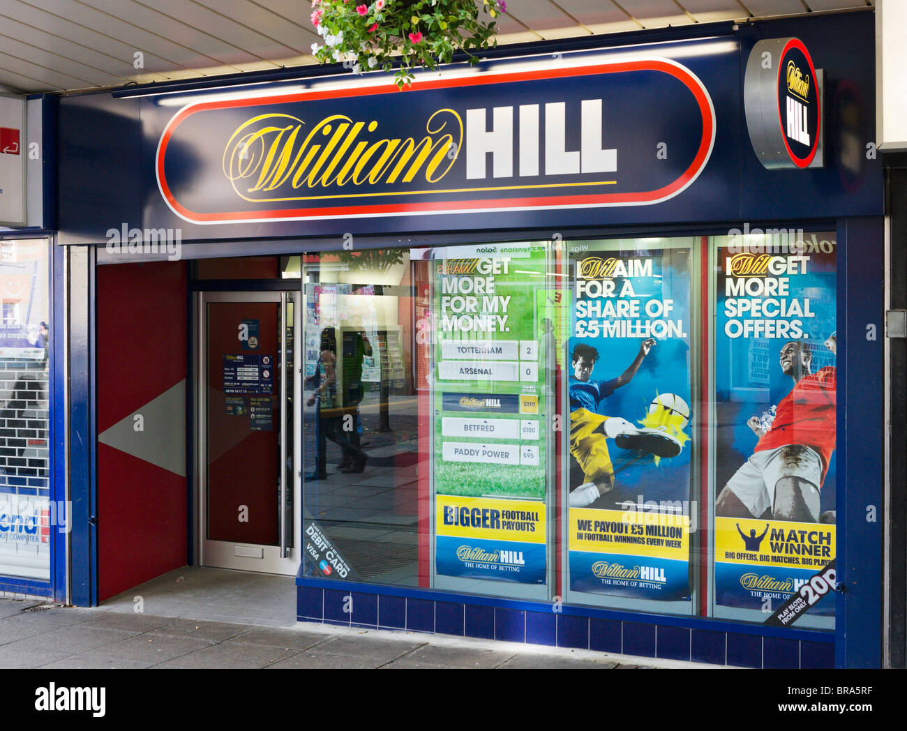 William Hill betting shop in Huddersfield town centre, West Yorkshire, England, UK - Stock Image