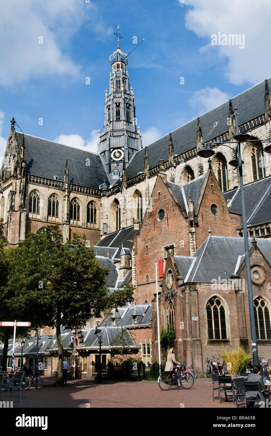 Haarlem Netherlands The Grote Kerk St Bavokerk bike Stock Photo