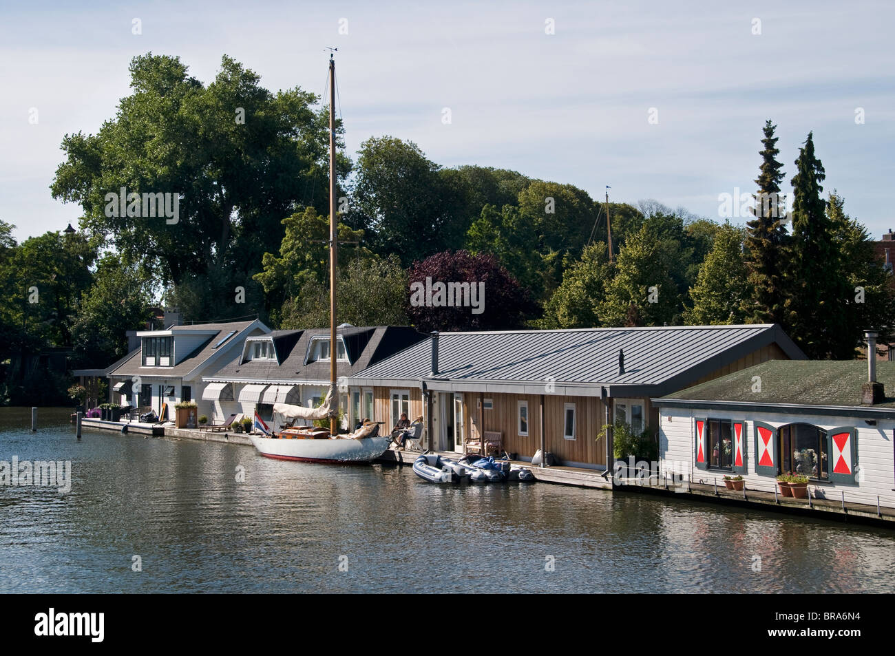 Hoorn Netherlands House Boat Boats Holland port - Stock Image