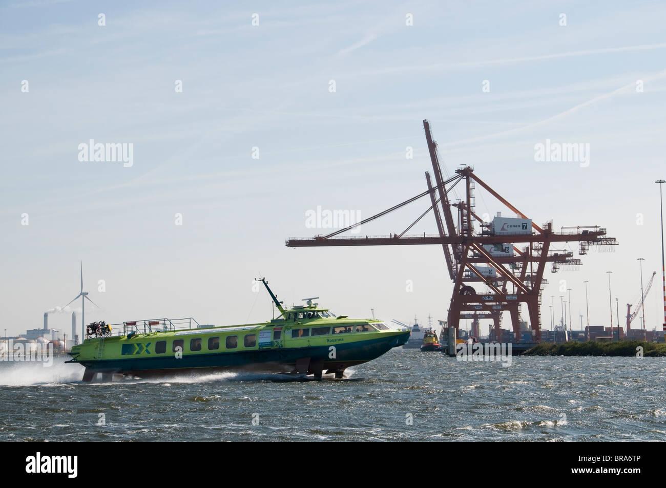 Netherlands Amsterdam  The fast hydrofoil boats Fast Flying Ferries Noordzeekanaal - Stock Image