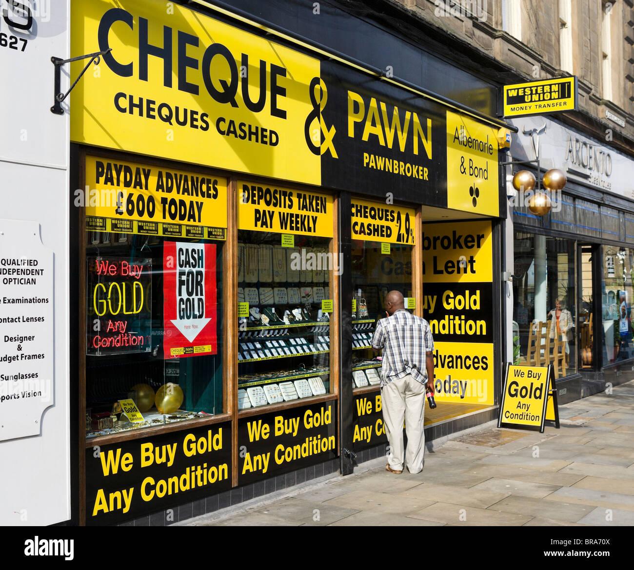 Albermarle & Bond pawnbrokers shop, Huddersfield, West Yorkshire, England, UK - Stock Image