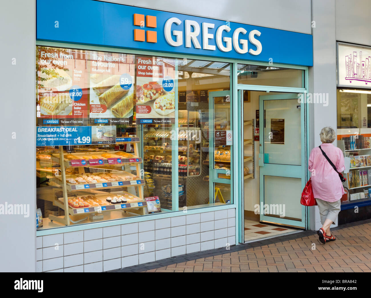 Greggs bakery in Huddersfield town centre, West Yorkshire, England, UK - Stock Image