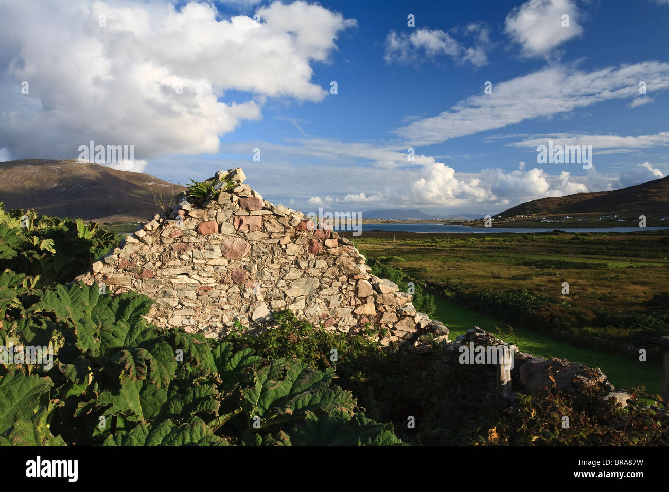 Deserted cottage on Achill Island, County Mayo, Ireland - Stock Image