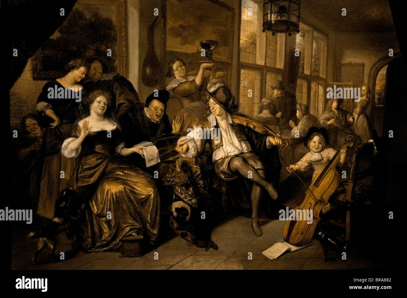 Netherlands  Richard Brakenburgh Painting A Merry company singing and Making music - Stock Image