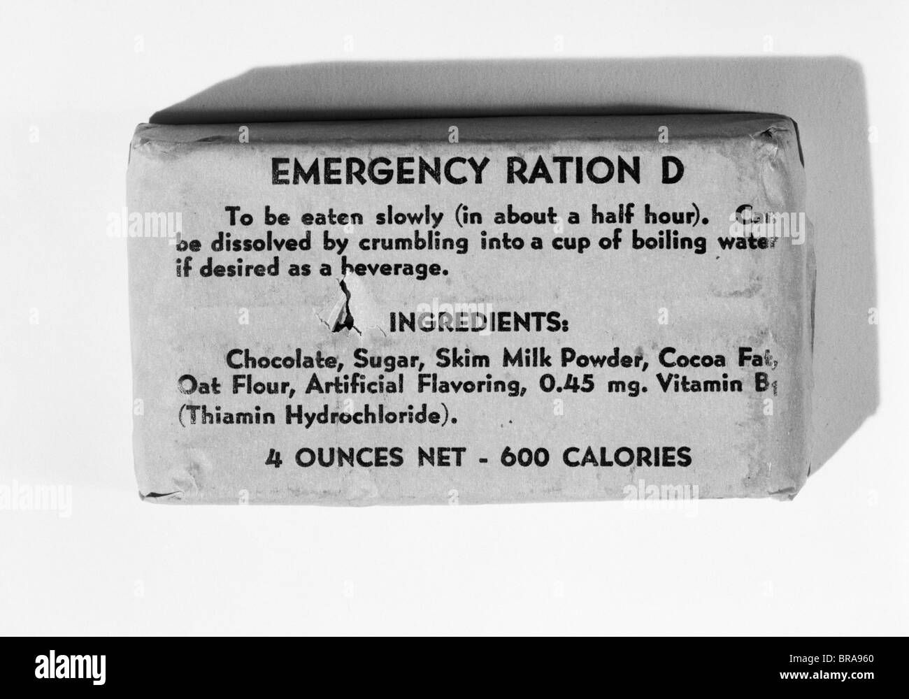 1940s EMERGENCY RATION D SURVIVAL KIT FOOD INSTRUCTIONS MILITARY PROVISION - Stock Image