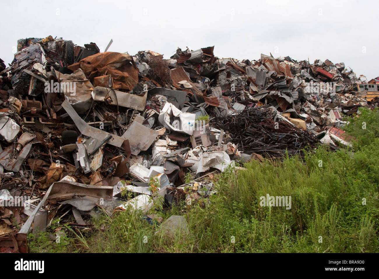 Salvaged metal is gathered for eventual sale as scrap metal at the Southern Scrapyard on Bayou Black in Morgan City, - Stock Image