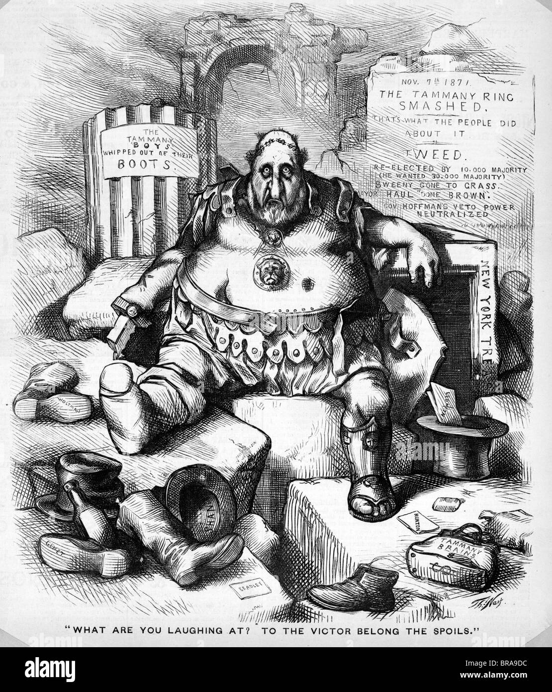 1800s 1871 Thomas Nast Cartoon Of Boss Tweed Tammany Hall