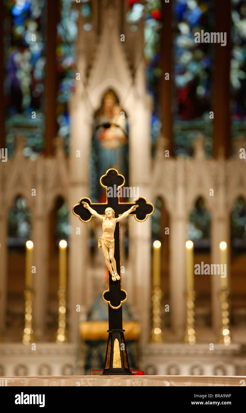 Crucifix and Our Lady, St. Mary's Cathedral, Sydney, New South Wales, Australia, Pacific - Stock Image