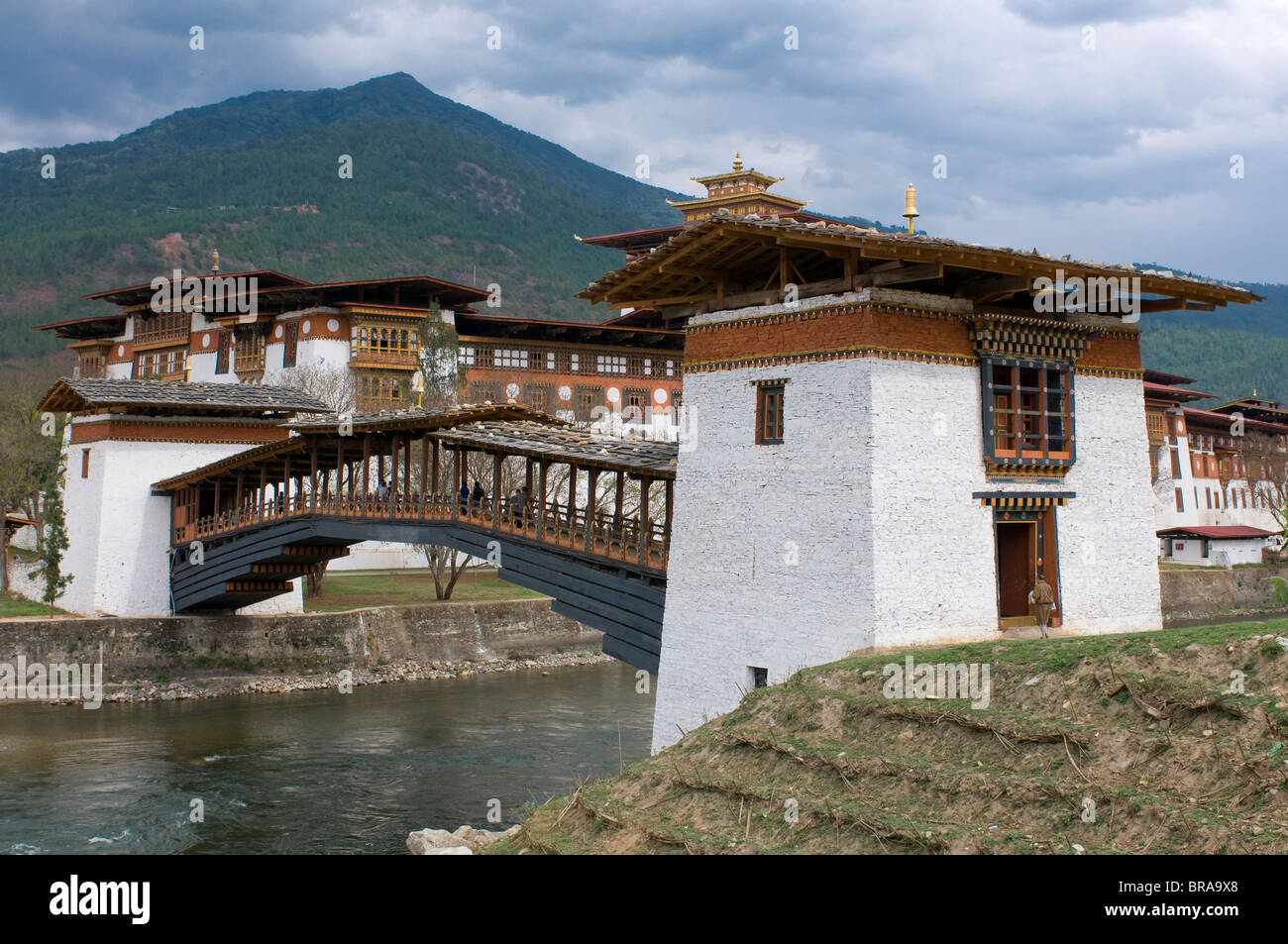 The tsong, an old castle of Punakha, Bhutan, Asia - Stock Image