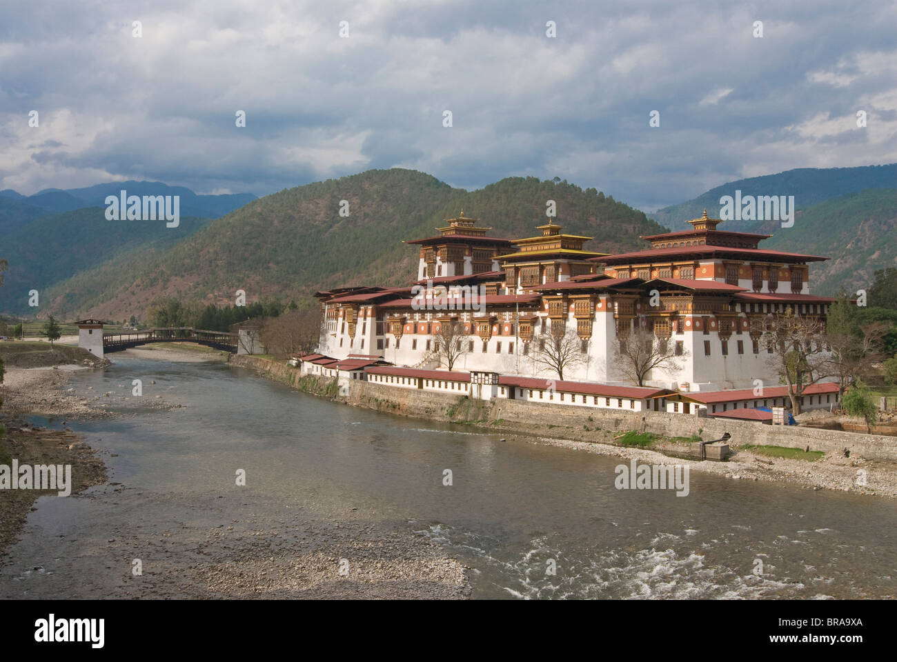 The old tsong, an old castle of Punakha, Bhutan. Asia Stock Photo
