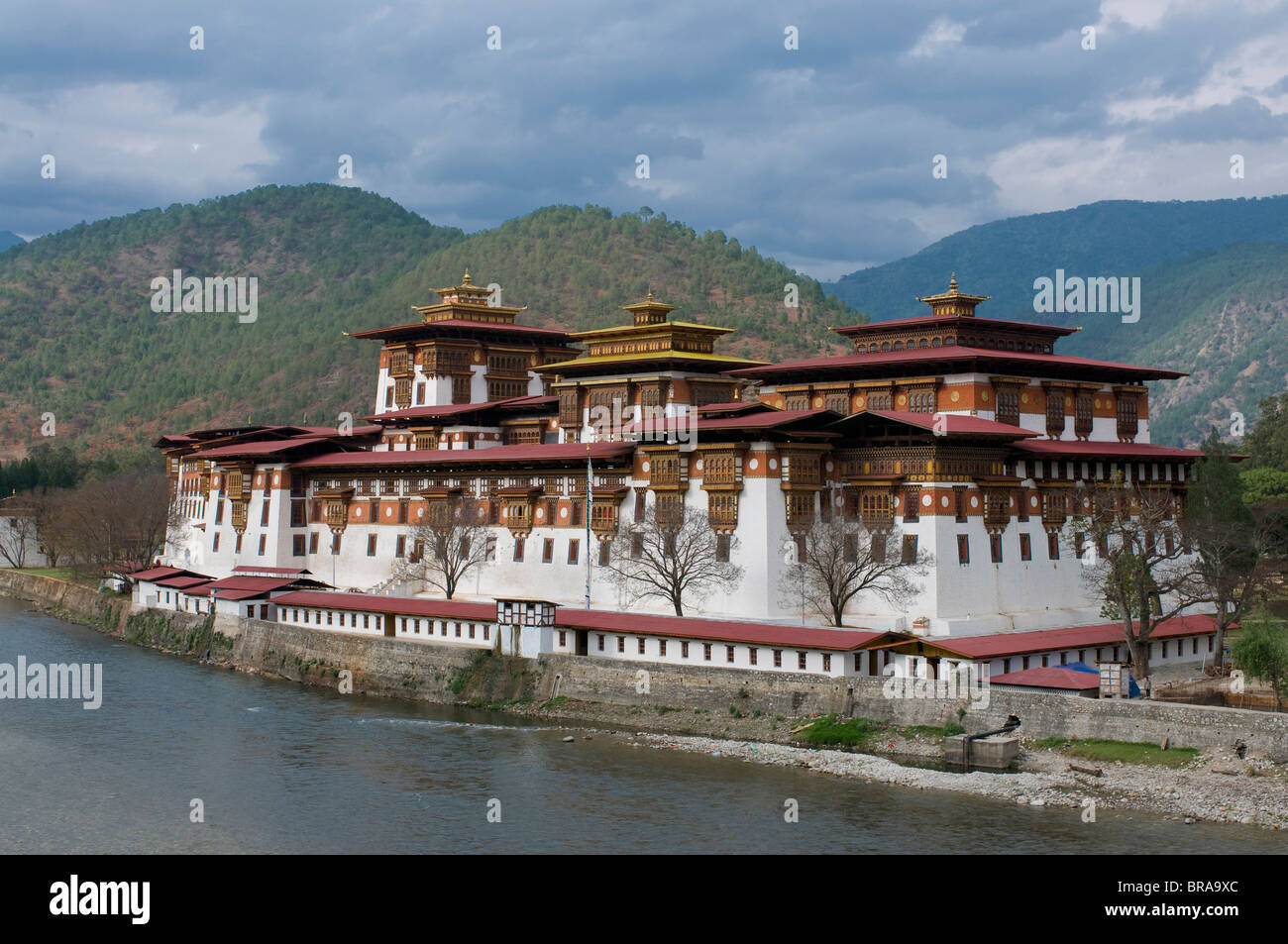 The old tsong, an old castle of Punakha, Bhutan. Asia - Stock Image