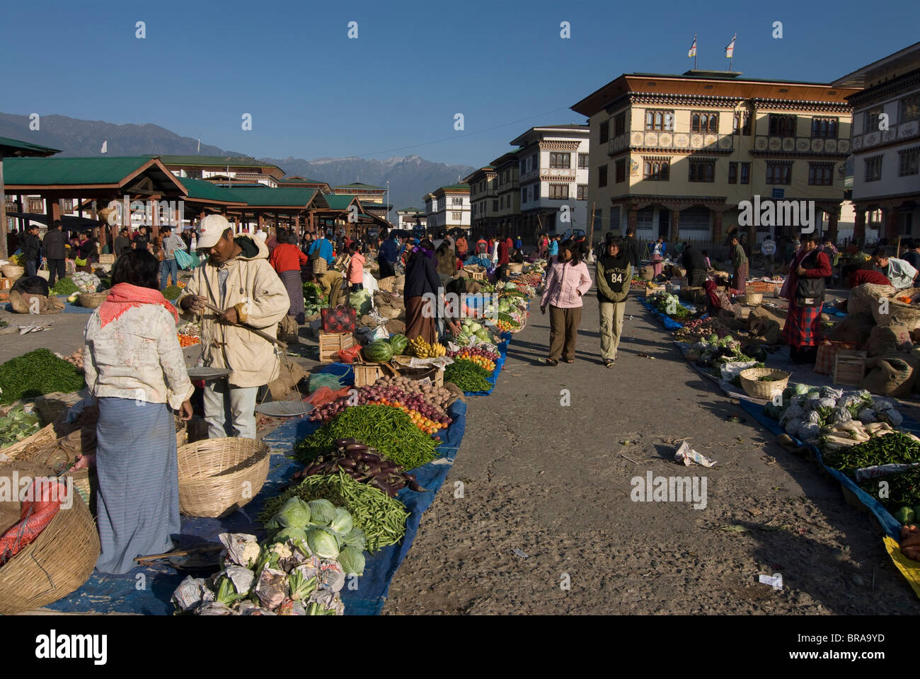 Big market place, Paro, Bhutan, Asia - Stock Image