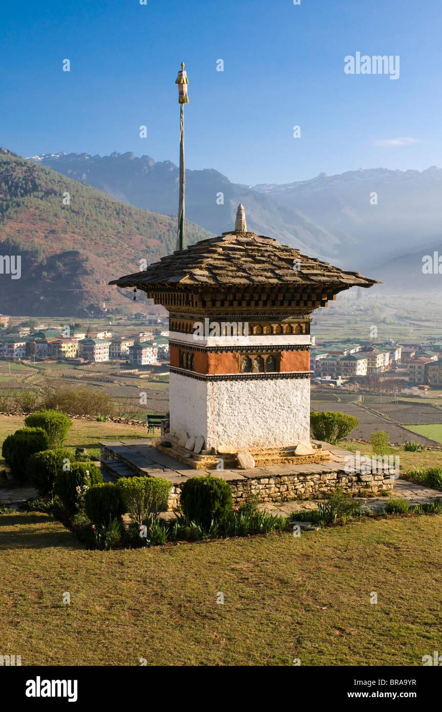 Beautiful Buddhist stupa, Paro, Bhutan, Asia - Stock Image