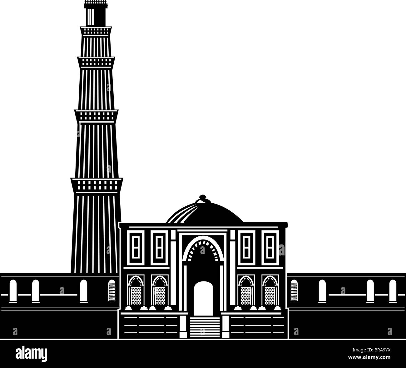 Illustration of the qutab minar in delhi is among the tallest and famous towers in the