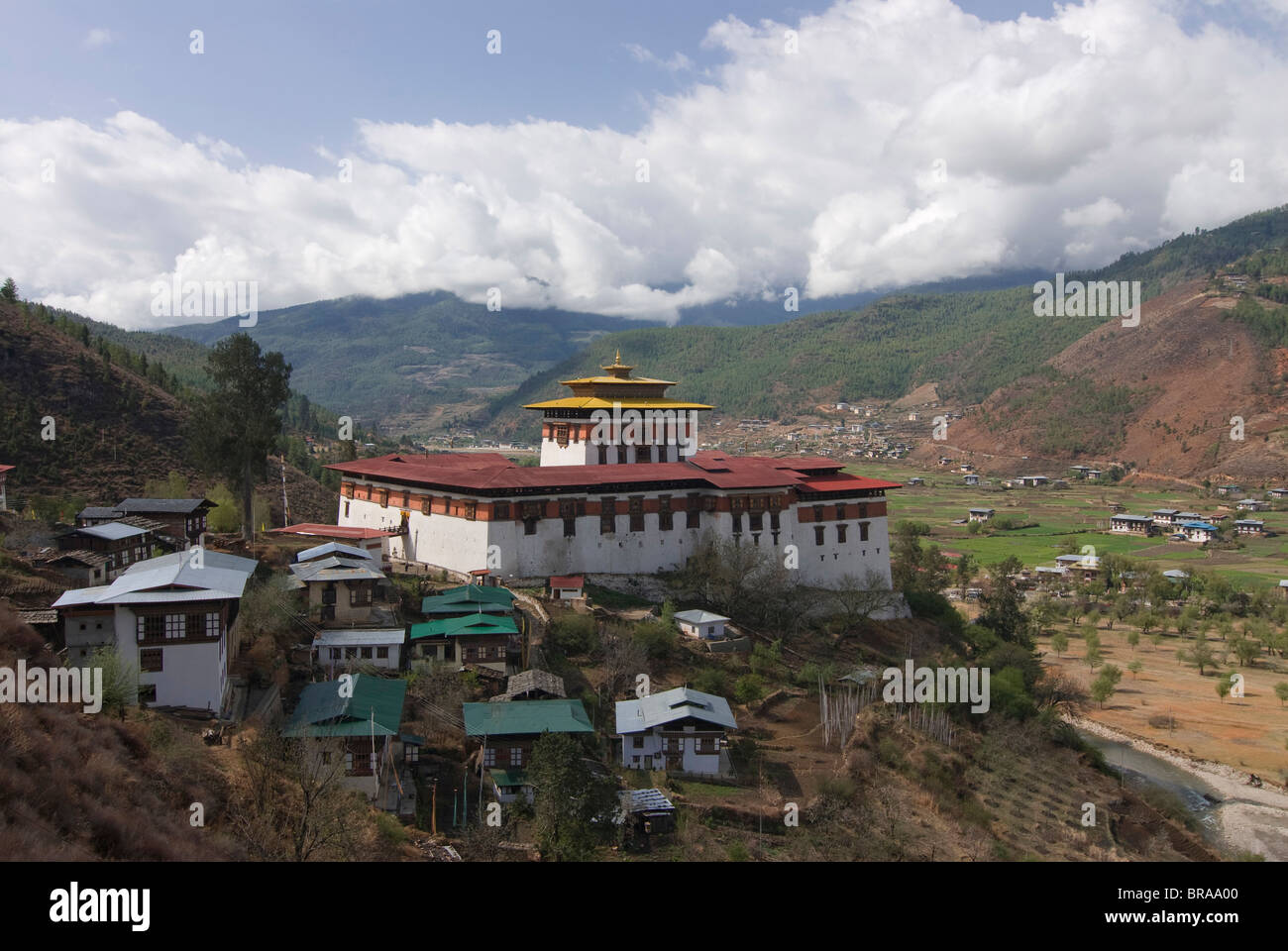 The tsong (old castle), now acting as a Buddhist monastery, Paro, Bhutan, Asia - Stock Image