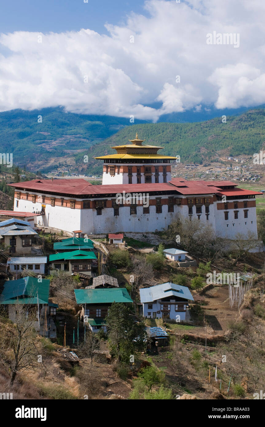 The tsong (old castle), now acting as a Buddhist monastery, Paro, Bhutan, Asia Stock Photo