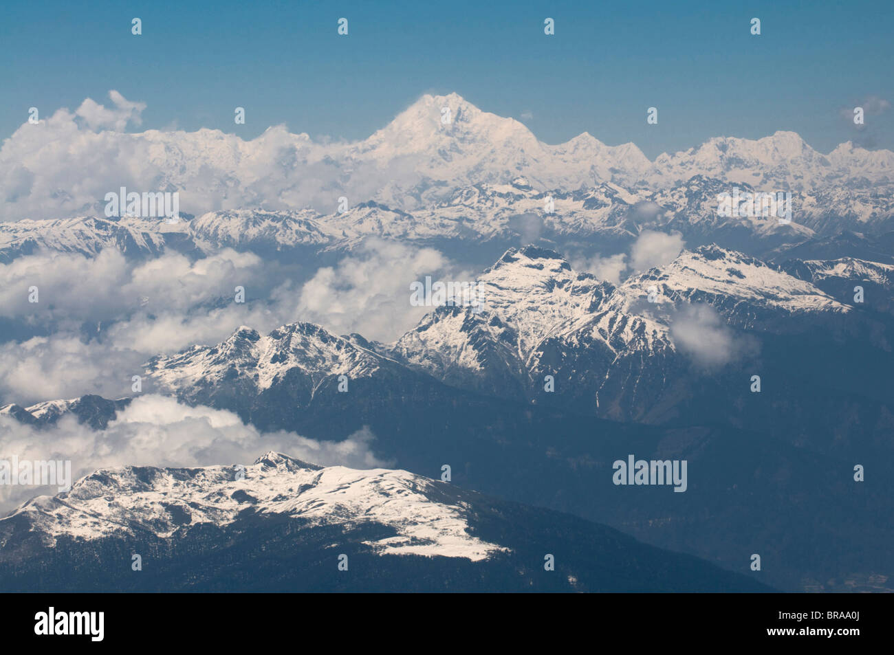 Aerial photo of the Himalayas with the world's third highest mountain, Kanchenjunga, Bhutan, Asia - Stock Image