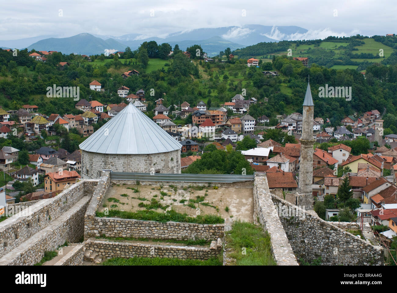 Medieval Castle with minaret, Travnik, Bosnia-Herzegovina, Europe - Stock Image
