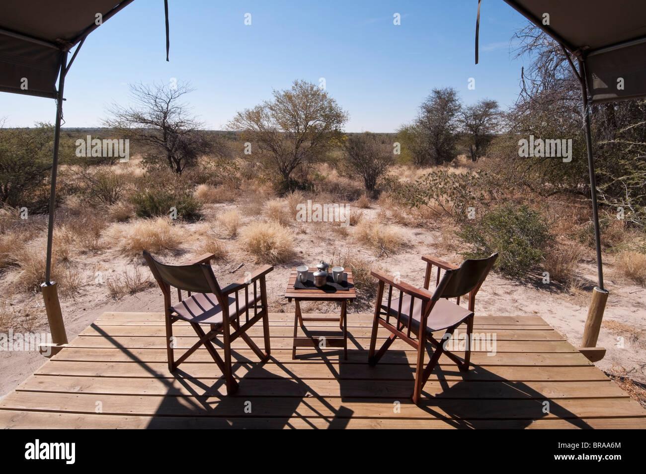 Kalahari Plains Camp, Deception Valley, Central Kalahari Game Reserve, Botswana, Africa - Stock Image