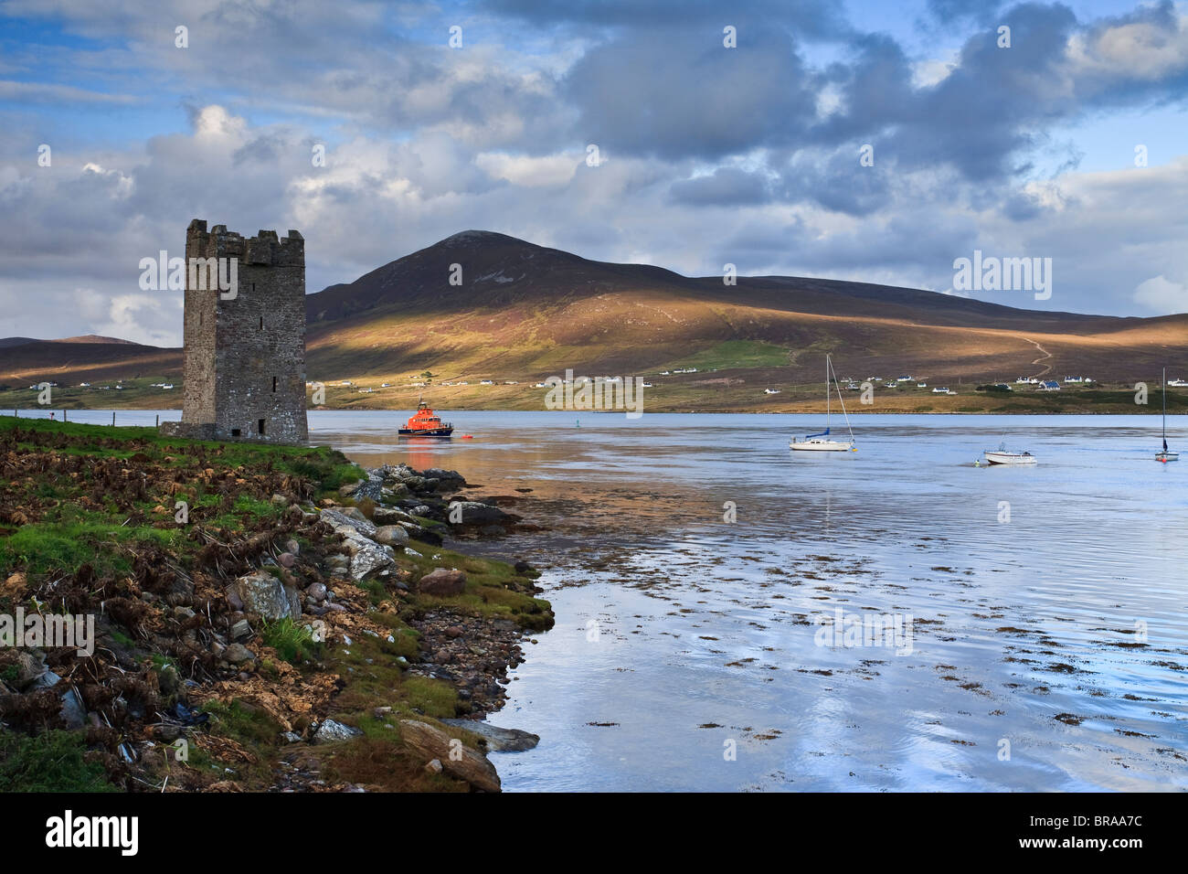 Dusk at Kildownet Castle, Achill Island, Ireland - Stock Image
