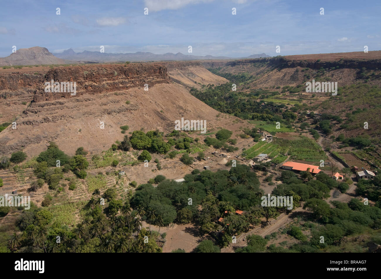 View through valley, Ciudad Velha (Cidade Velha), Santiago, Cape Verde Islands, Africa - Stock Image