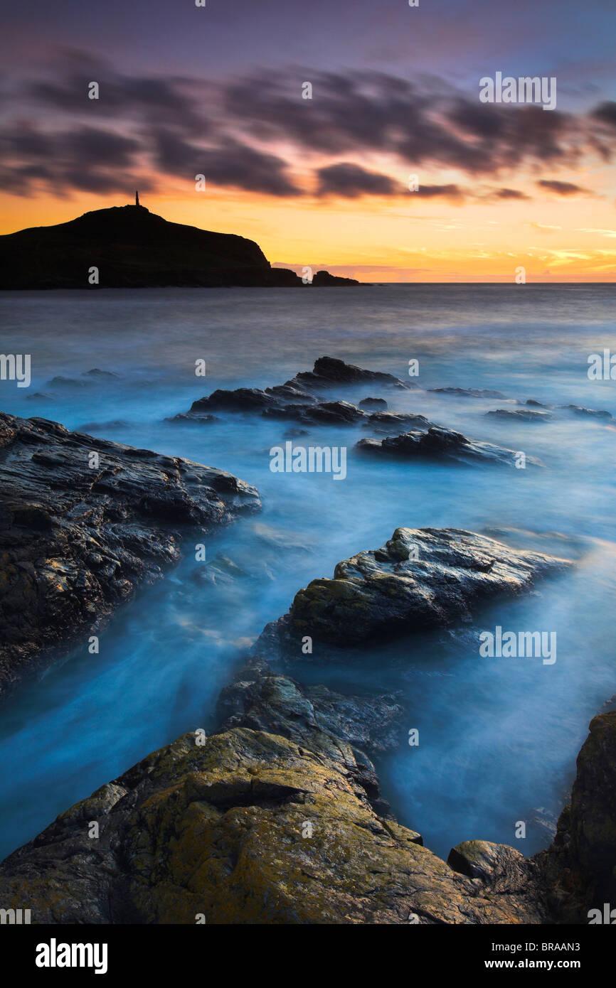 Twilight at Porth Ledden near Land's End, Cornwall , UK - Stock Image