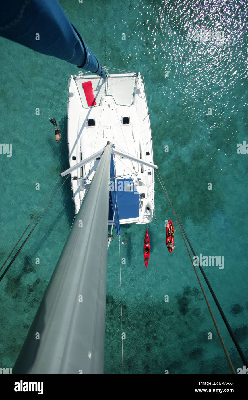 "Kayak, snorkeler and open kayak viewed from the masthead of Moorings charter catamaran ""Pitch Pin"", British Virgin Stock Photo"