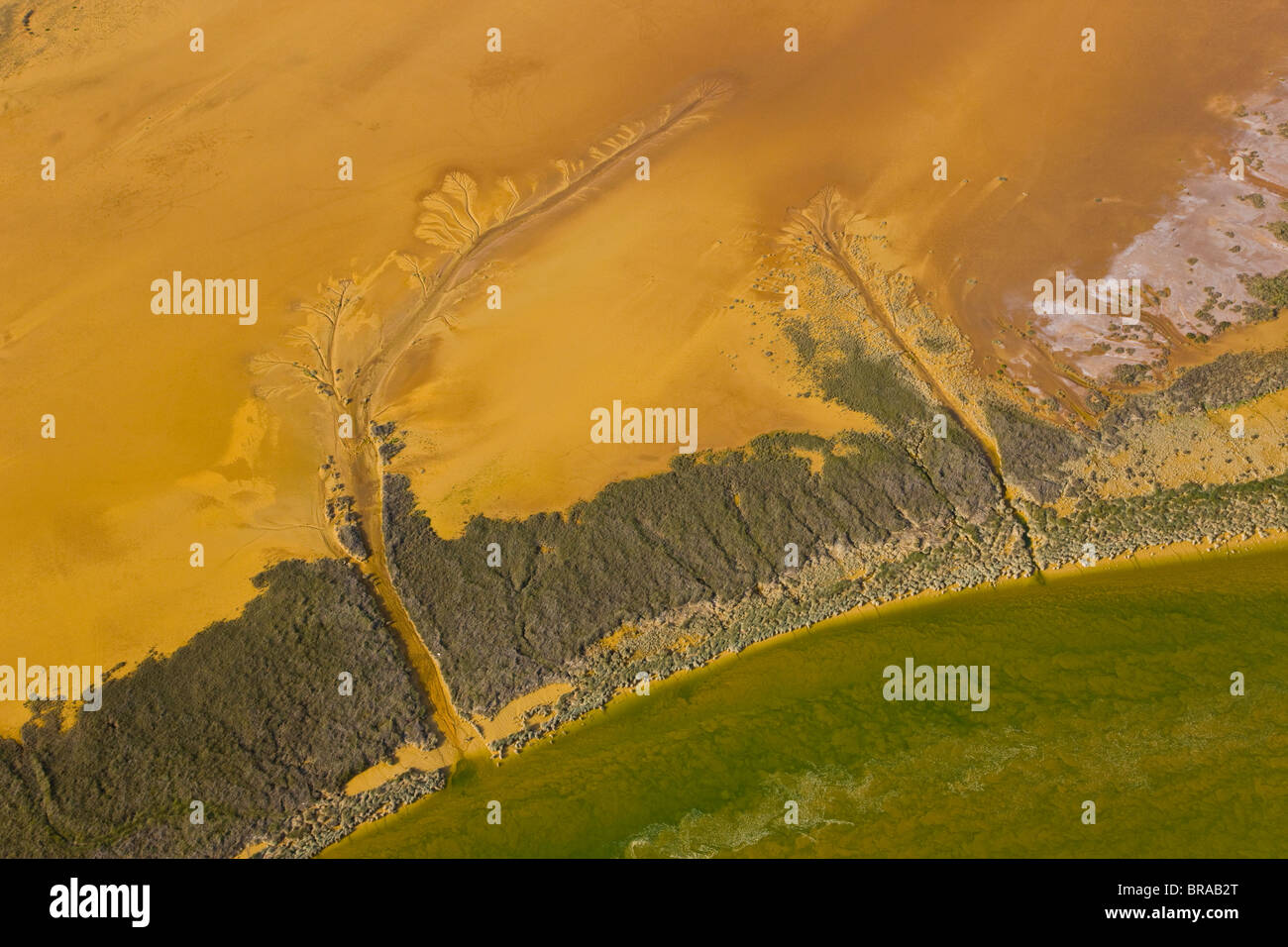 Aerial view of Rio Tinto estuary, Costa de la Luz, Huelva, Andalucia, Spain, March 2008 - Stock Image