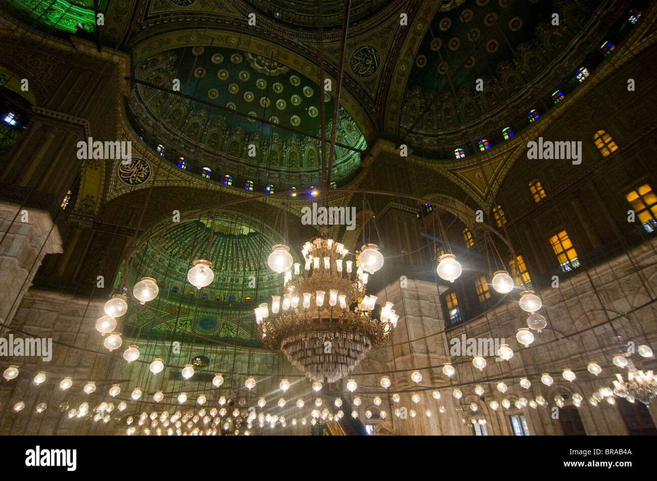 Inside the Mosque of Mohammed Ali, Cairo, Egypt, North Africa, Africa - Stock Image