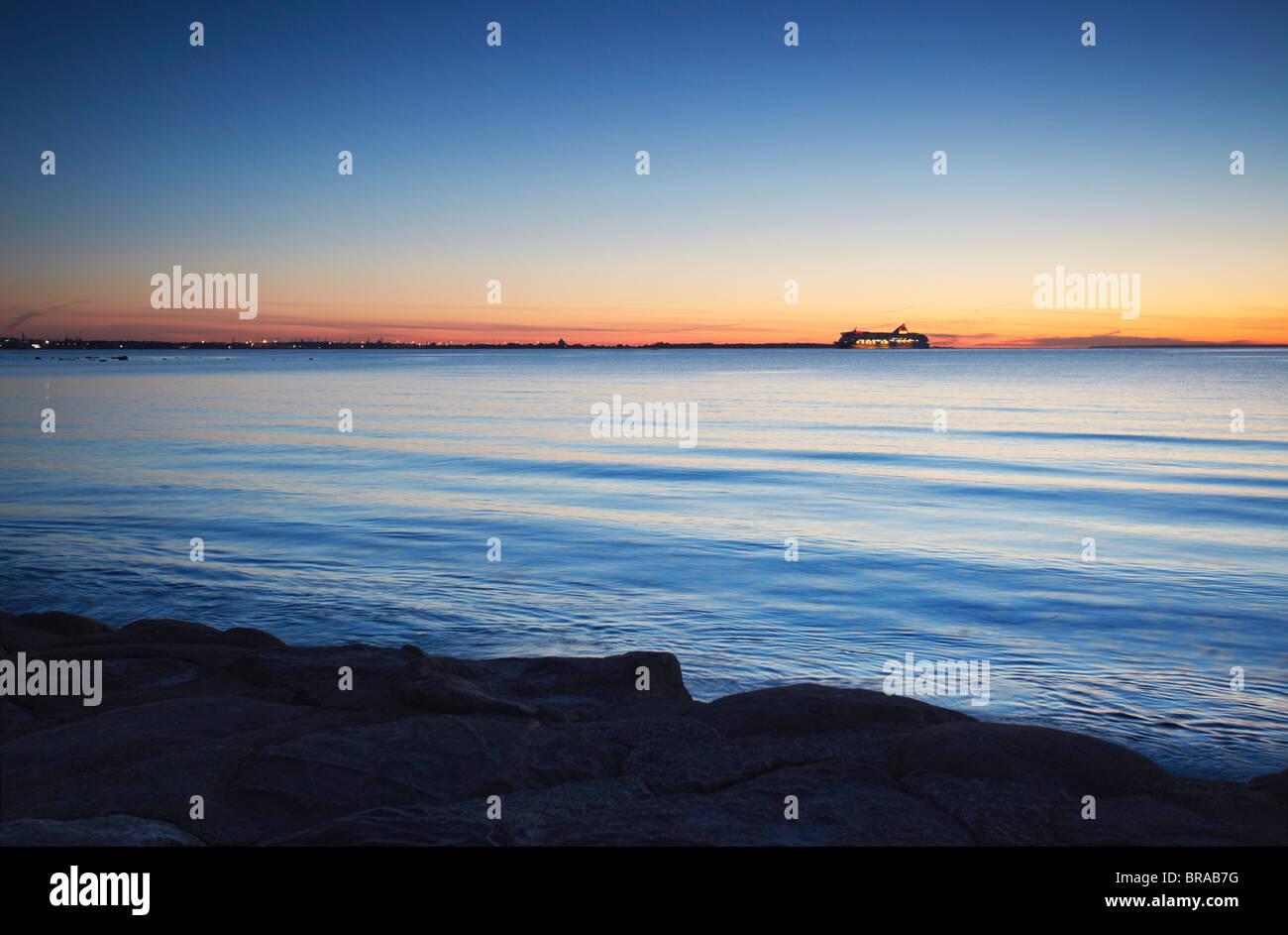 Tallink Ferry on horizon coming into port, Tallinn, Estonia, Baltic States, Europe - Stock Image