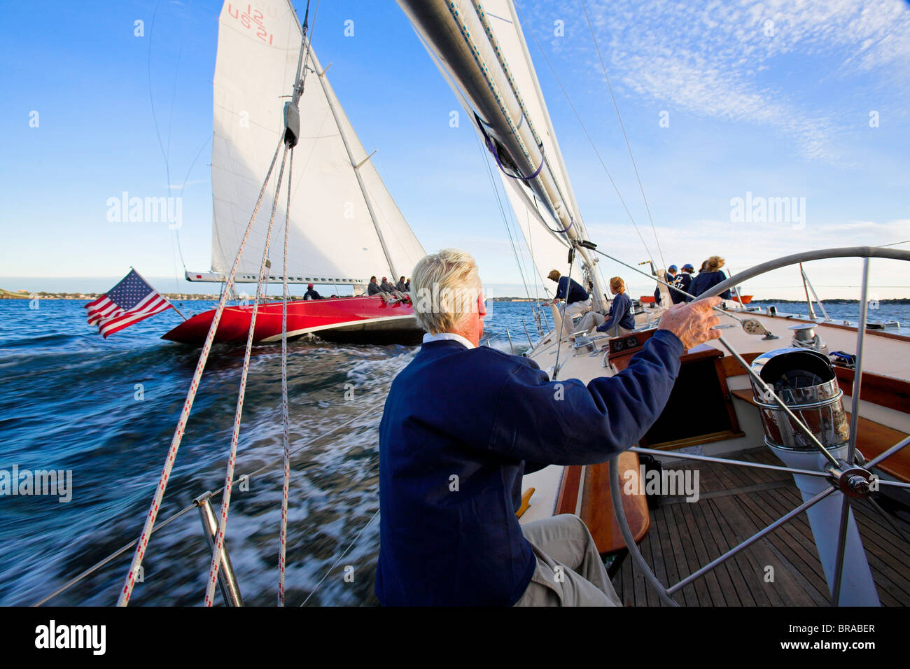 Racing onboard 12m Weatherly with American Eagle to leeward in Narragansett Bay, Newport, Rhode Island, USA. - Stock Image