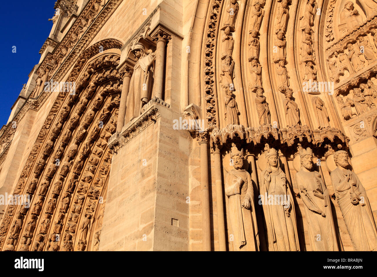 Saints statues decorated the Portal of St-Anne of Notre Dame cathedral. city of Paris. Paris. France Stock Photo