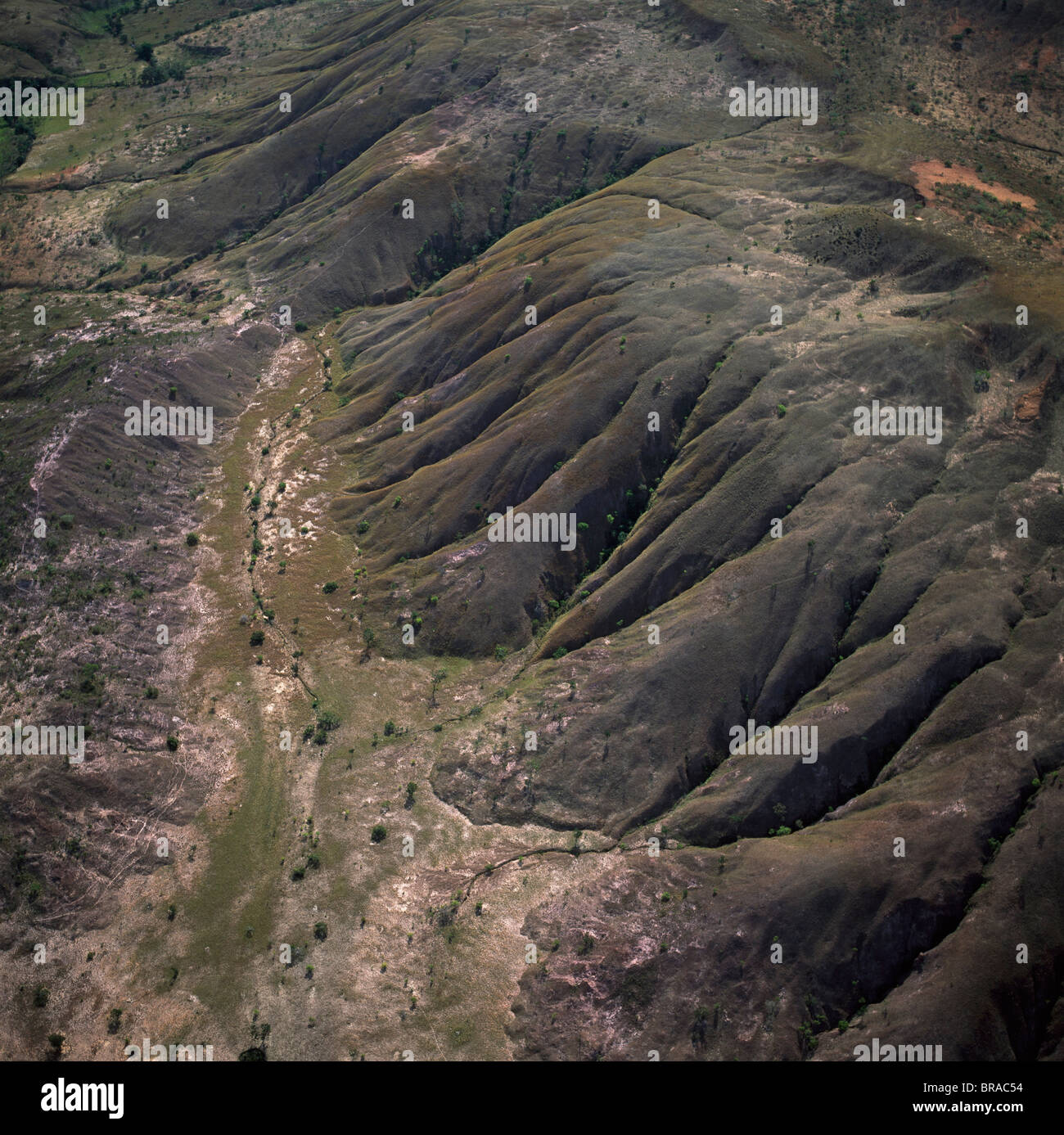 Aerial view of highland savannah and erosion, near Ireng River, Rupununi District, Guyana, South America - Stock Image