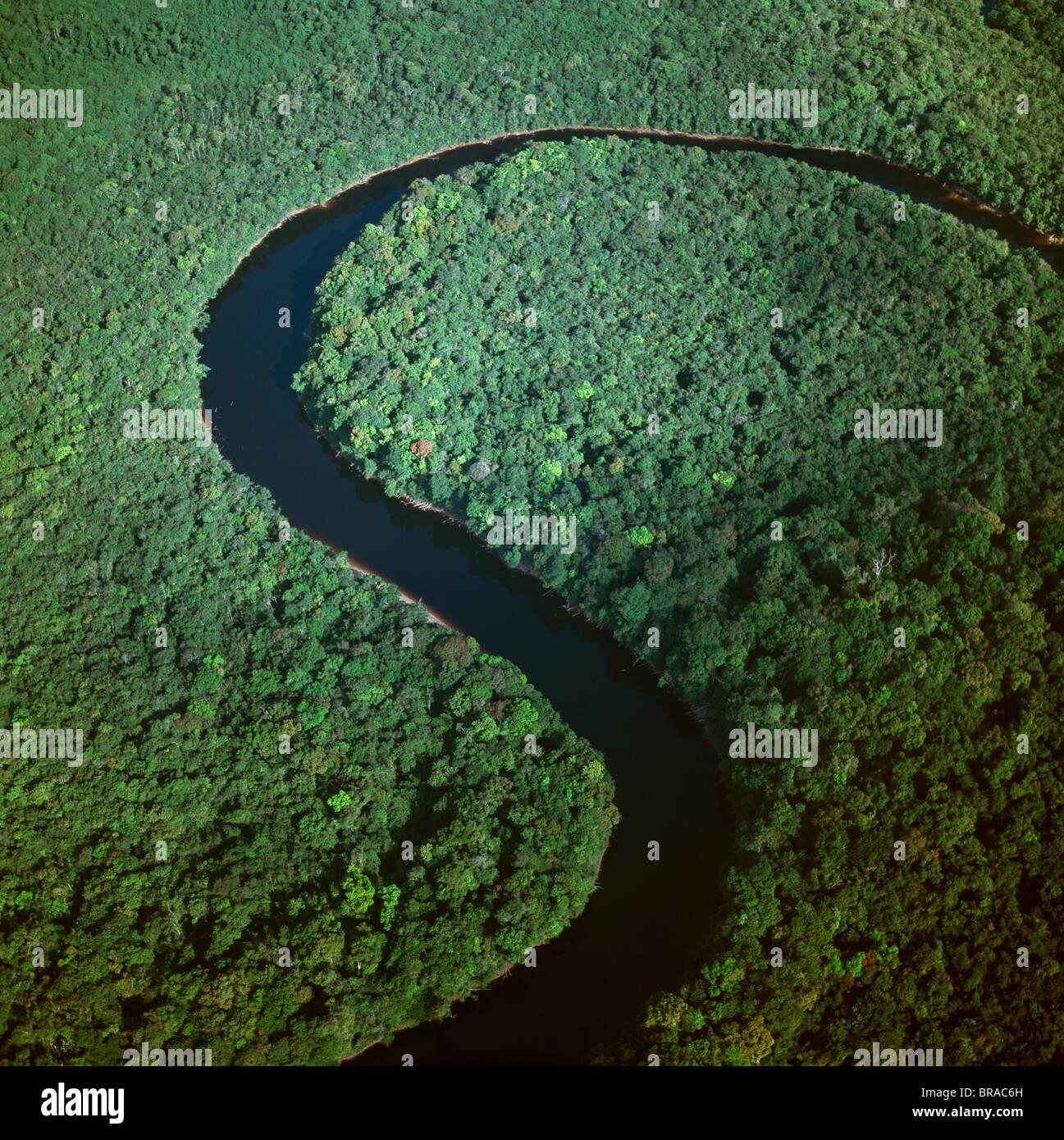 Aerial image of the Kako River, Upper Mazaruni District, Guyana, South America - Stock Image