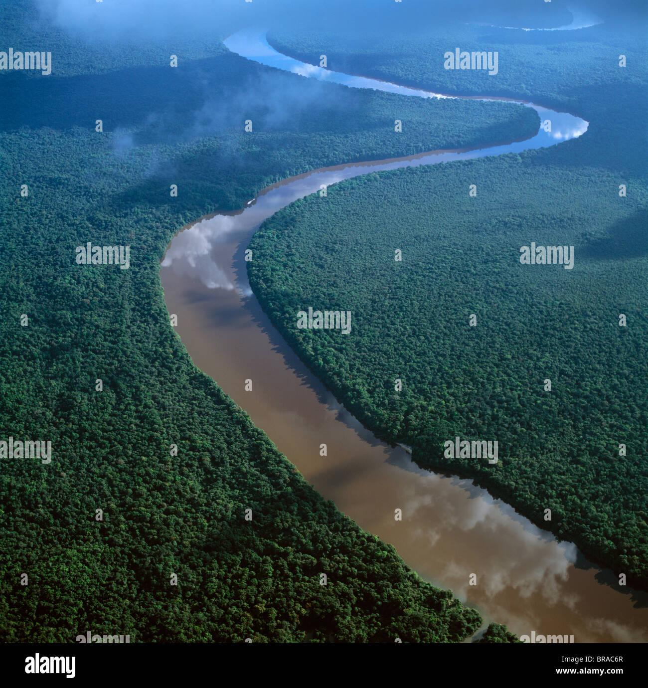 Aerial image of the Lower Mazaruni River south of Oranapai Landing, Guyana, South America - Stock Image