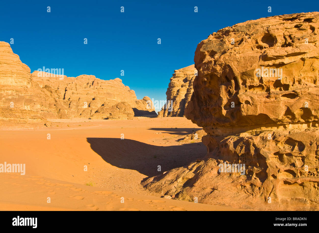 The stunning desert scenery of Wadi Rum, Jordan, Middle East Stock Photo
