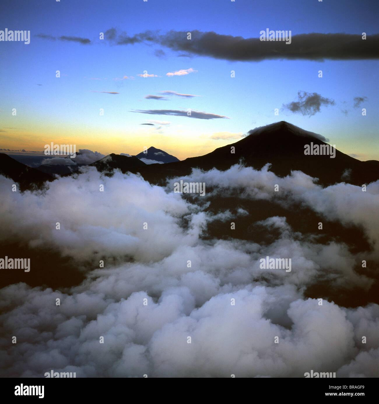 Aerial view of Mount Karisimbi, a dormant volcano in the Virunga Mountains - Stock Image