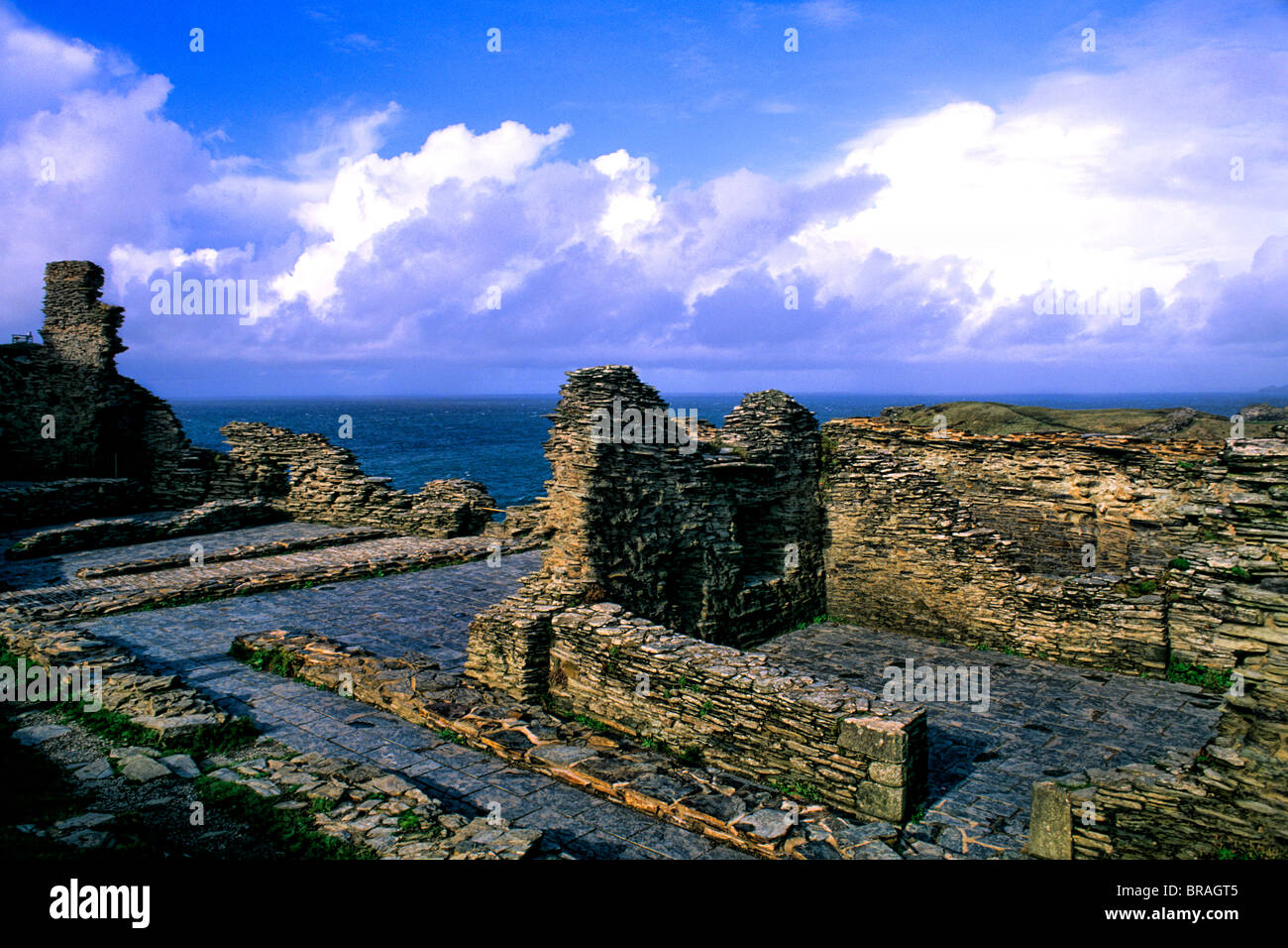 King Arthur's home Tintagel Castle in Cornwall England - Stock Image