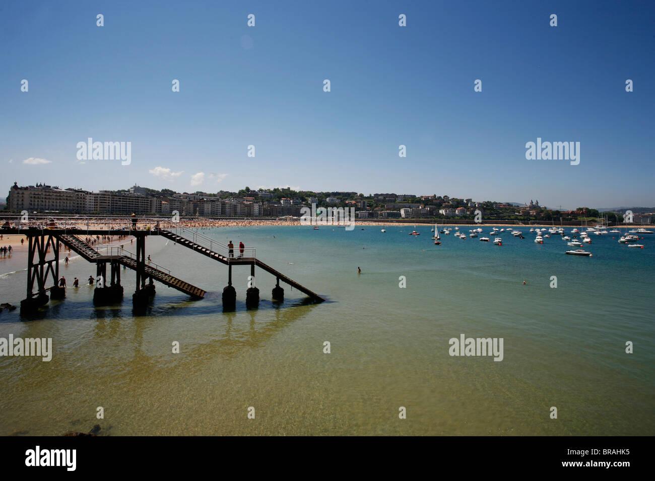Concha bay, San Sebastian, Pays Basque, Euskadi, Spain, Europe - Stock Image