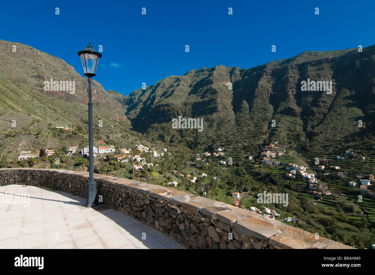 View into Valle Gran Rey, La Gomera, Canary Islands, Spain, Europe - Stock Image