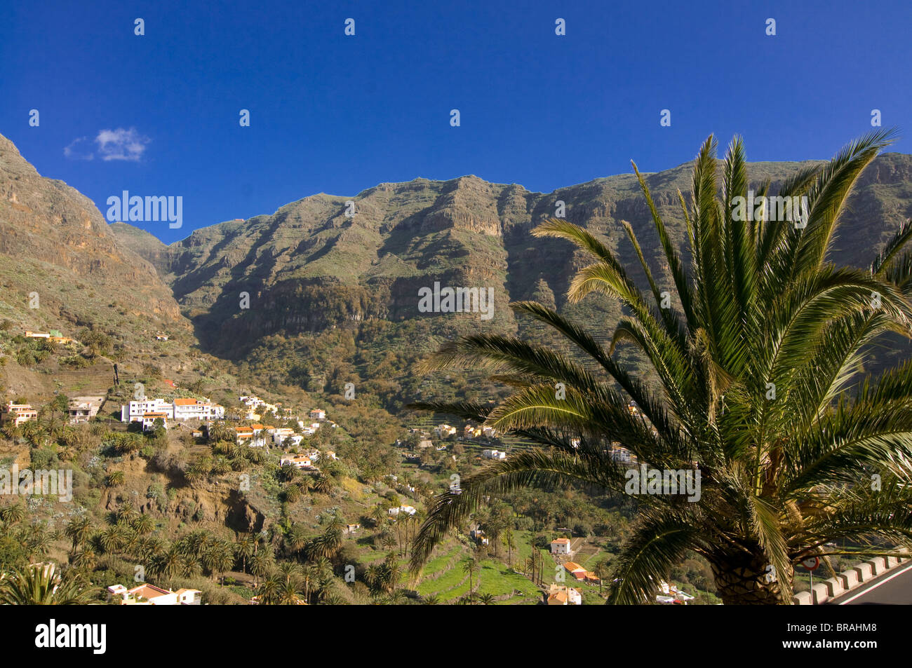 View over Valle Gran Rey, La Gomera, Canary Islands, Spain, Europe - Stock Image