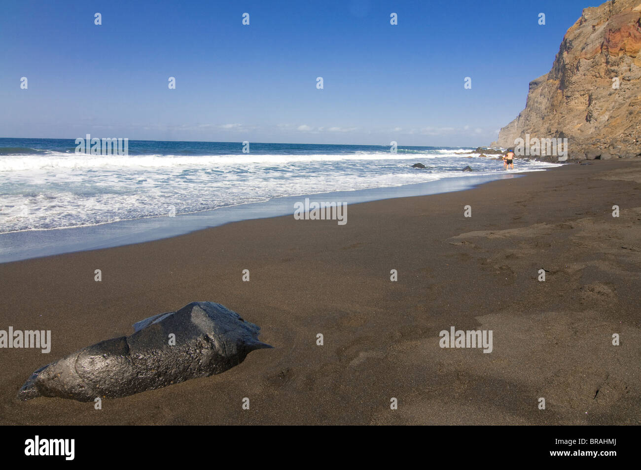Deserted beach in Valle Gran Rey, La Gomera, Canary Islands, Spain, Atlantic, Europe - Stock Image