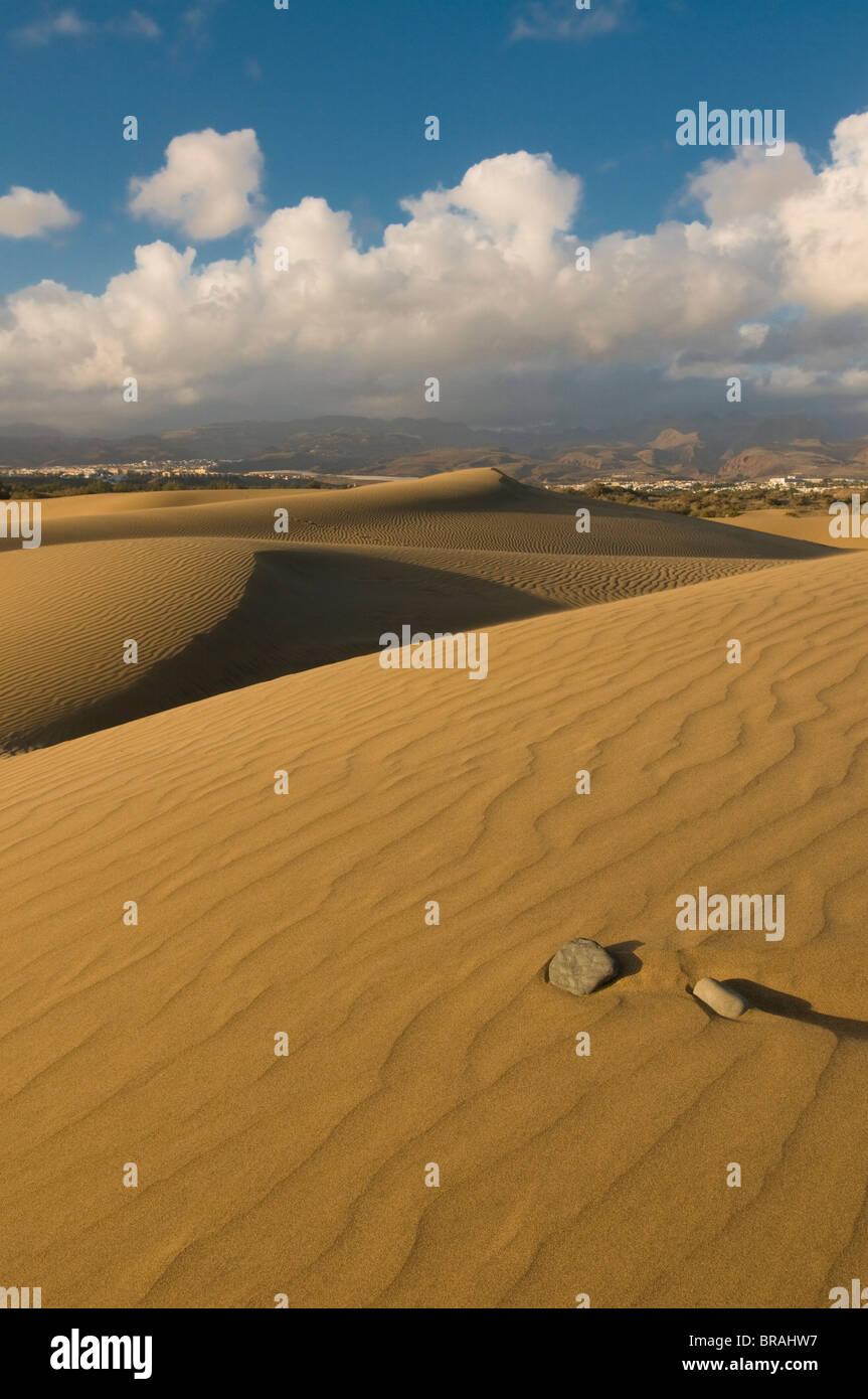 Famous sand dunes of Maspalomas, Gran Canaria, Canary Islands, Spain, Europe - Stock Image