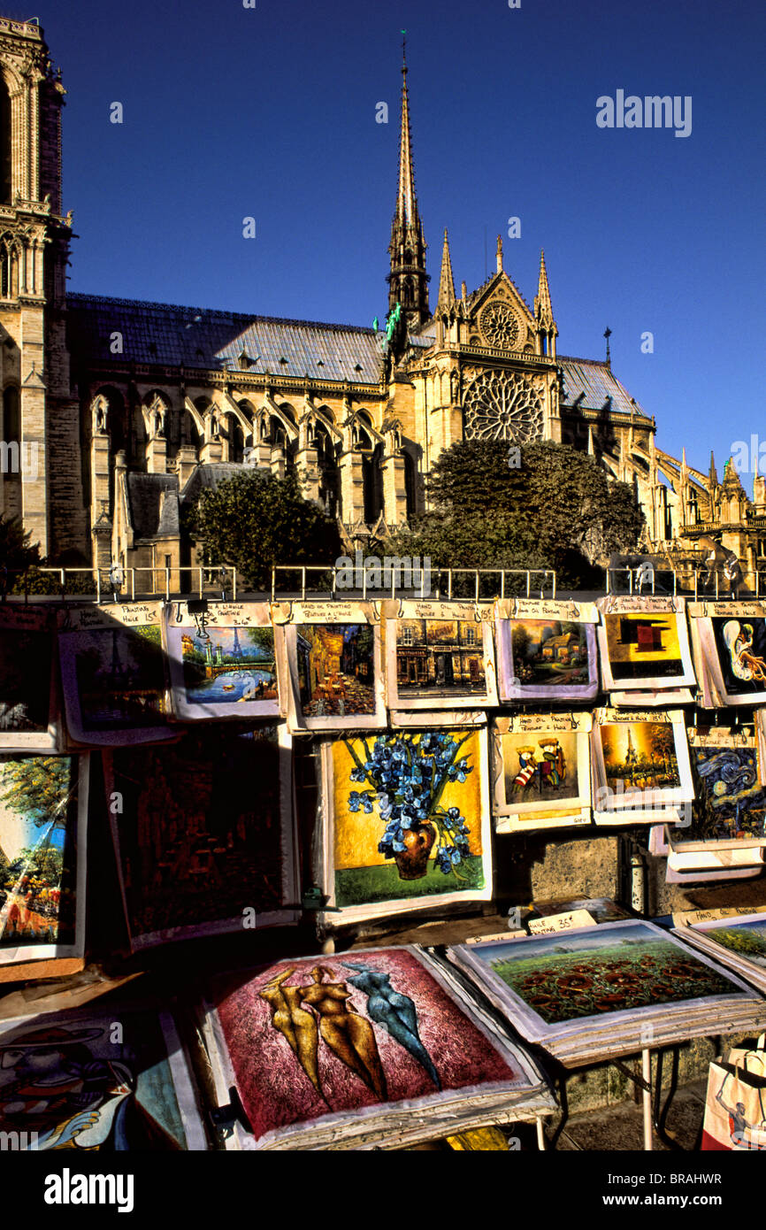 France Wonderful Art sellers on River Seine at Notre Dame Cathedral in Paris France - Stock Image
