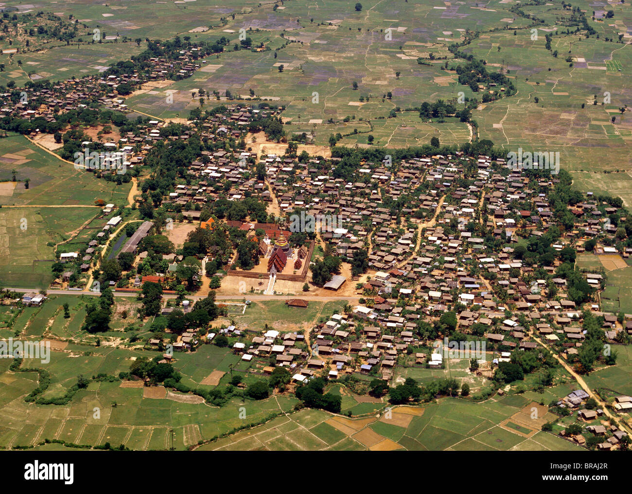 Aerial view of Wat Phra That Luang, Lampang Province, Thailand, Southeast Asia - Stock Image