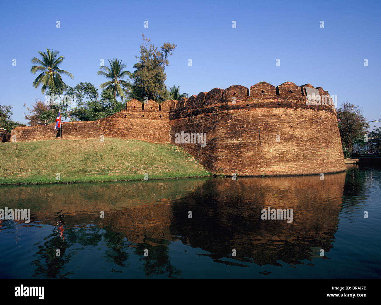Corner tower and moats of the ancient walled city of Chiang Mai, Thailand, Southeast Asia, Asia - Stock Image