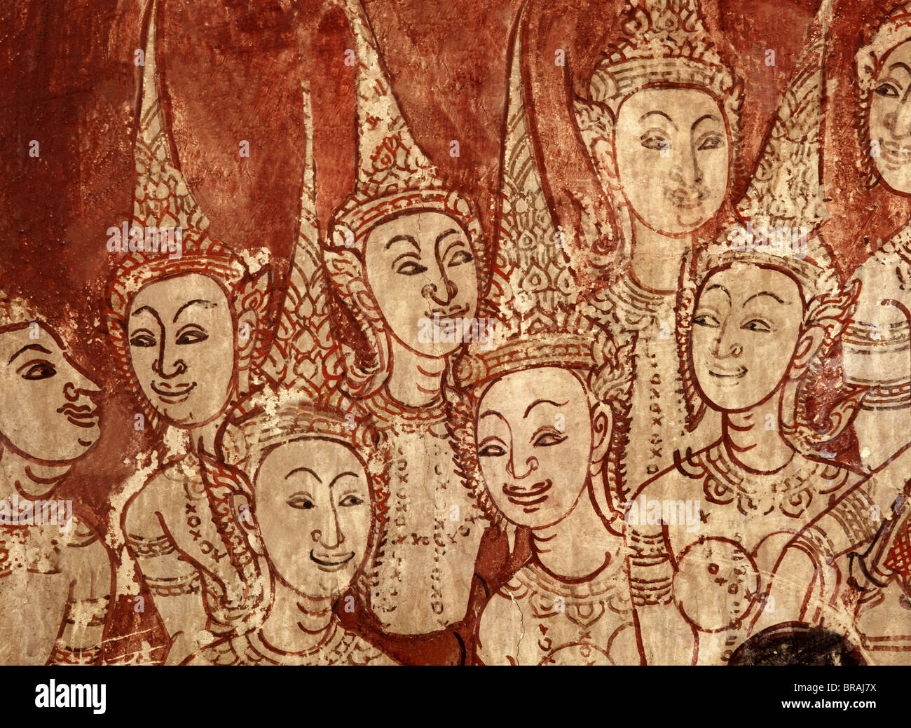 Celestial deities, detail of murals dating from the Ayutthaya period, Wat Chompoowek, Nonthaburi, Thailand, Southeast - Stock Image