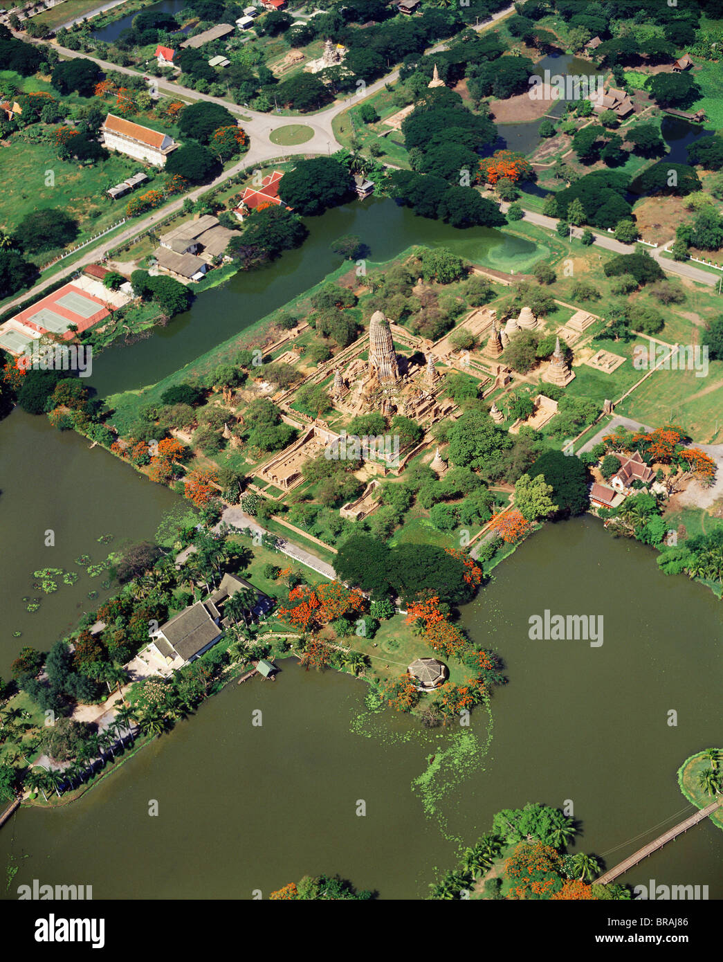 Aerial view of Wat Phra Ram, surrounded by a pond, Ayutthaya, Thailand, Southeast Asia, Asia Stock Photo